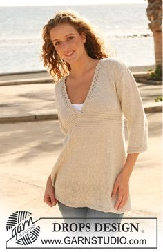 """Knitted DROPS Tunic with lace border on neckline in """"Bomull-Lin"""". Size S - XXXL. ~ DROPS Design free pattern"""