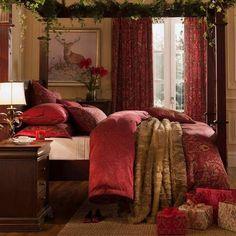 Dorma Red Marianna Bed Linen Collection | Dunelm