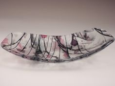 Pink and black oblong glass dish by RosaModerna on Etsy, $75.00
