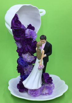 Floral Wedding Decorations, Tea Party Decorations, Bridal Shower Centerpieces, Floral Centerpieces, Blonde Kids, Teacup Crafts, Cabbage Patch Kids Dolls, Shades Of Purple, Silk Flowers