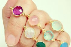 Golden gemstone rings from Luna Blau