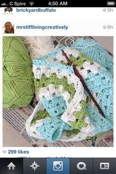 Pretty crochet granny square afghan colors