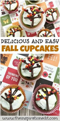 Fall cupcakes can be super fun to make during the autumn season. In fact, baking with the kids or decorating cupcakes for the kids is a fun budget-friendly activity which results in a deliciously tasty treat after all the fun is done. We are happy to share these super cute Fall Cupcakes which I am sure you will love to create. These Autumn Fall cupcakes super easy and simple to make. You only need a few ingredient and some help from your kids and, voila! Download the FREE recipe now! Cupcake Day, Kid Cupcakes, Cupcake Cakes, Autumn Cupcakes, Easy Cake Recipes, Cupcake Recipes, Fall Recipes, Dessert Recipes, Desserts