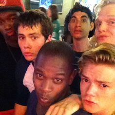 """""""The boys doing an impression of the girls. Pouting like dans, #nolanights #kingswillbekings"""" via Aml Ameen"""
