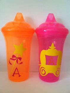Set of 2 Childs Personalized Sippy Cups by TooCutePersonalized, $8.50