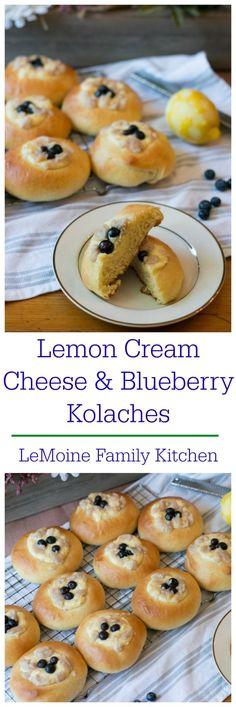 Lemon Cream Cheese & Blueberry Kolaches - LeMoine Family Kitchen Cream Cheese Eggs, Cream Cheese Filling, Brunch Recipes, Cake Recipes, Breakfast Recipes, Icebox Pie, Lemon Cream, Family Kitchen, Kitchen Recipes