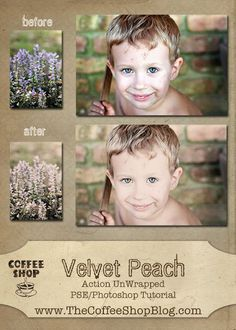 CoffeeShop Action UnWrapped Editing Tutorial to get the Velvet Peach effect.  This tutorial is for Photoshop and Photoshop Element users, but can be followed in Gimp!