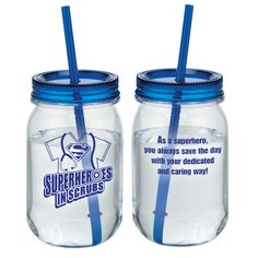 Superheroes In Scrubs Blue Mason Jar Tumbler With Straw | Positive Promotions