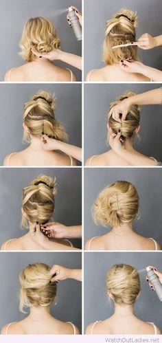 Simple short hair updo tutorial