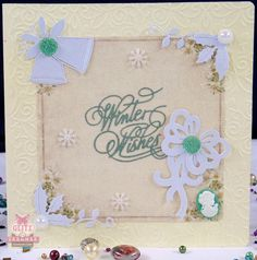 Handamde Christmas card with 'Winter Wishes' sentiment by Glitzycards on Etsy