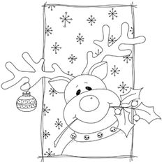 Reindeer coloring page for Christmas - Coloring Pages Christmas Images, Christmas Colors, Christmas Art, Christmas Projects, Holiday Crafts, Christmas Decorations, Christmas Ornaments, Christmas Doodles, Christmas Drawing