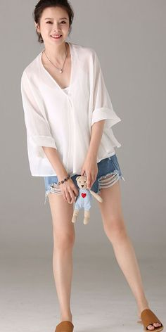 Summer Pure Color Thin T Shirt Women Casual Blouse C9013 Shirt Sleeves, T Shirt, White Tops, Gorgeous Women, Fashion Outfits, Fashion Trends, Pure Products, Woman Clothing, Clothes For Women