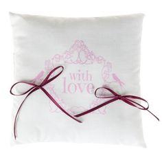 Coussin alliances Vintage blanc rose carré en coton