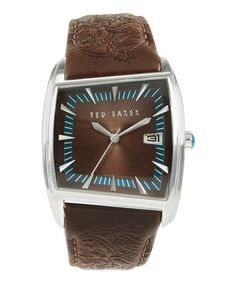 Ted Baker Brown Asymmetrical Textured Leather-Strap Watch by Ted Baker #zulily #zulilyfinds