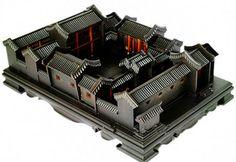 紫光檀古建筑模型别墅模型四合院老北京模型送领导送朋友亲友红木-淘宝网