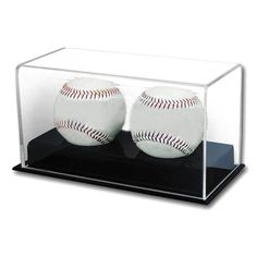New Sale BCW Deluxe Acrylic Double Baseball Holder Display - Sports Memorabilia Display Case - Sports Collecting Supplies