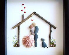 Pebble Art Couple's Gift- Custom Wedding Gift- Unique Wedding Gift- Groom to Bride Gift- Couple and Two Dogs- Pebble Art Family- Pebble Art