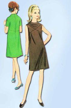 1960s Vintage McCalls Sewing Pattern 8851 Stylish Misses Mod Dress Size 12 32B