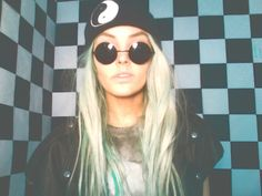 Soft grunge yin yang beanie leather vest tie dye turquoise hair