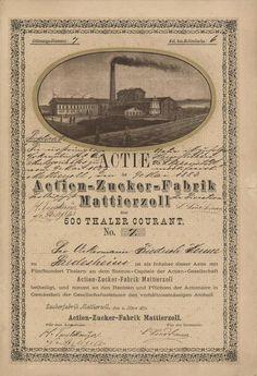 HWPH AG - Acciones antiguas - Actien-Zucker-Fabrik Mattierzoll / Mattierzoll, 01.03.1871, Gründer-Namensaktie über 500 Thaler Courant