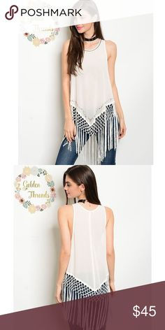 Boho Ivory Sleeveless Top w Bead Knotted Fringe Trendy Ivory Sleeveless Top with Bead Accents and Knotted Fringe semi- sheer Sizes : S  M  L Tops Blouses