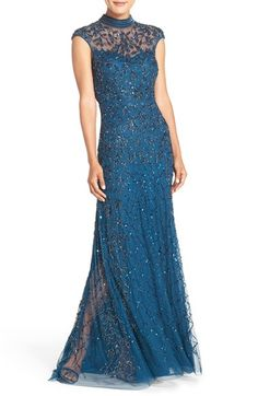 Free shipping and returns on Adrianna Papell Embellished Mesh Gown at Nordstrom.com. A high neckline and meticulous beading build up the drama of this scintillating mesh gown.