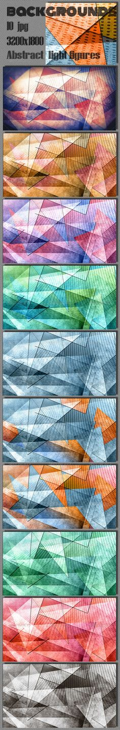 Abstract Polygonal Geometric Art Backgrounds. Included 10 hi-res JPG files. 3200×1800, 300 DPI.