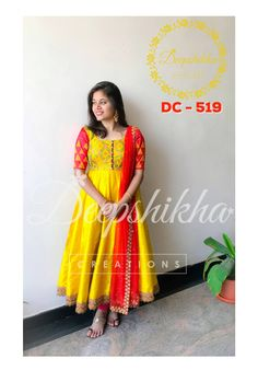 DC - Beautiful yellow and red color combination ankle length anarkali dress with red net dupatta. anarkali dress with hand embroidery thread work. For queries kindly WhatsApp: 91 9059683293 . Salwar Designs, Simple Kurti Designs, Half Saree Designs, Kurta Designs Women, Kurti Designs Party Wear, Kalamkari Dresses, Ikkat Dresses, Long Dress Design, Dress Neck Designs