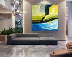 Apartment Decor Original Art Artwork Acrylic Painting | Etsy Blue Painting, Large Painting, Original Art, Original Paintings, Modern Wall Art, Oversized Wall Art, Bathroom Wall Art, Extra Large Wall Art, The Originals