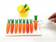 Montessori carrot placing transferring activity, MONTESSORI CARROT TRANSFERRING, mini carrots activity, counting and fine motor skills, NEW at AlenaSnai.com only $13.95