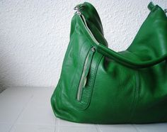 green leather hobo bag