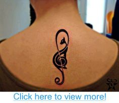 Black cat music sign tattoo on back