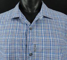 Cabela's Mens XL Cool Max Camp Shirt Seersucker Blue Plaid Button Up SS Pocket #Cabelas #ButtonFrontCamp