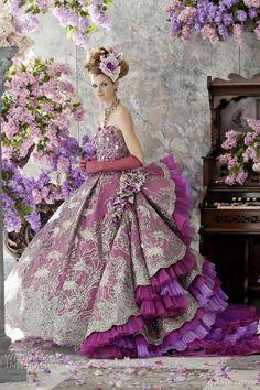 Stella de Libero Color Wedding Dresses - Purple wedding gown with bustled skirt.