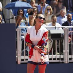 Hannah Davis at the #TommyXNadal pop-up tennis match in Bryant Park, NYC