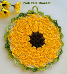 PINK ROSE CROCHET: Girassol Pega Panelas Sunflower Pot Holders