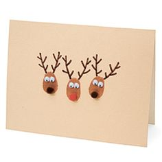 Fingerprint Reindeer Cards