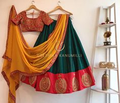 Looking for half saree color combinations ? Check out 21 cool looking half saree designs with trending colors and modern appeal. Indian Fashion Dresses, Indian Gowns Dresses, Dress Indian Style, Indian Designer Outfits, Indian Outfits, Half Saree Lehenga, Lehenga Saree Design, Lehenga Designs, Indian Bridal Sarees