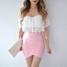 fashion, pink, and outfit image Mode, Rosa und Ausstattungsbild Look Fashion, Teen Fashion, Fashion Clothes, Fashion Outfits, Womens Fashion, Fashion Hair, Skirt Fashion, Elegance Fashion, Fashion Glamour
