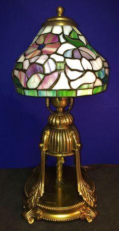 ANTIQUE GOLD GILT BRASS ART DECO FANTASY LAMP W/LEADED SLAG GLASS SHADE  C1930
