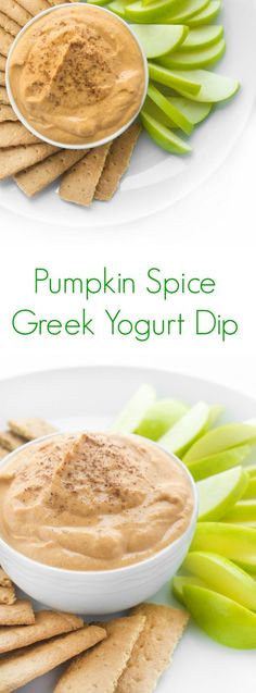 This pumpkin spice Greek yogurt dip is the ultimate healthy snack or dessert recipe. Ideal for dipping fruit or eating on it's own!