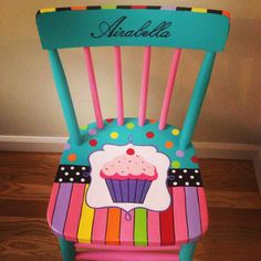 Sweet like a little cupcake!  This little chair was custom made for a little girl.