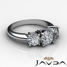 Three 3 Stone Round Diamond Gorgeous Engagement Ring EGL F SI1 Platinum 1 75 Ct   eBay