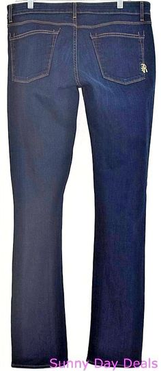 Rich and Skinny Jeans Straight Cotton Denim Stretch Dark Blue 55-5015H Night 32 #RichSkinny #StraightLeg