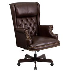 High Back Traditional Tufted Leather Executive Office Chair