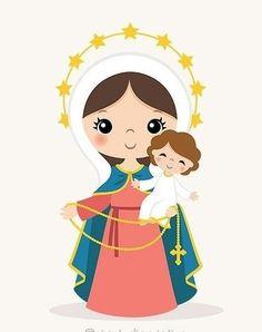 Catholic Prayers, Catholic Art, Foto Cartoon, Jesus Christ Painting, Jesus Cartoon, Mama Mary, Queen Of Heaven, Inspirational Bible Quotes, Religious Images