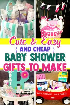 Easy diy gifts: 28 affordable & cheap baby shower gift ideas for those Baby Shower Gift Basket, Baby Baskets, Baby Boy Shower, Gift Baskets, Baby Shower Gifts To Make, Practical Baby Shower Gifts, Unique Baby Shower Gifts, Budget Baby Shower, Easy Diy Gifts