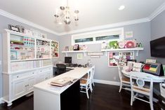 Craft Room Design Ideas (Creative Rooms) Home office and craft room with light grey walls, large desk and crafting table.Home office and craft room with light grey walls, large desk and crafting table. Craft Room Storage, Craft Organization, Craft Rooms, Organizing, Lp Storage, Record Storage, Space Crafts, Home Crafts, Desk Crafts