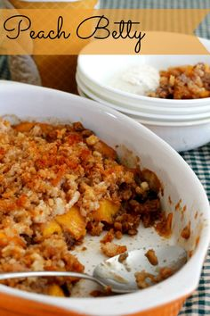 Peach Betty: An Old Fashioned Favorite ~ Lydia's Flexitarian Kitchen #dessert #summer #peaches