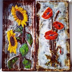 "Polubienia: 5, komentarze: 0 – modern (@modern_old2new) na Instagramie: ""Ruscha XL wall plaques #sunflowers #poppies #xl #wall #wallplaque #ruscha #west #westgermany…"" Sunflowers, Poppies, Wall Plaques, German, Pottery, Modern, Painting, Vintage, Instagram"